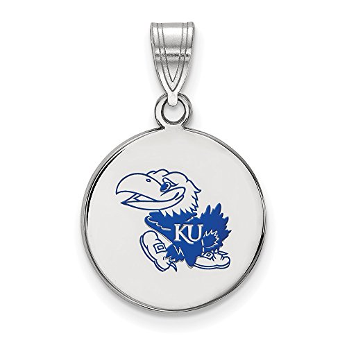 925 Sterling Silver Officially Licensed University College of Kansas Medium Enamel Disc Pendant (24 mm x 15 mm) by Mia Diamonds and Co.