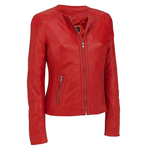 Black Rivet Womens Center Zip Round Neck Leather Jacket W/ Side Stitching S Red