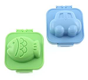 Kotobuki Plastic Egg Mold, Set of 2, Fish and Car