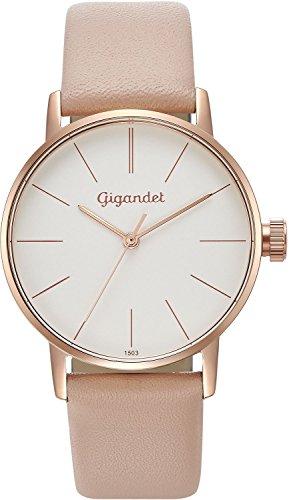 Gigandet Women's Quartz Watch Minimalism Analog Leather Strap Rose Gold White G43-014