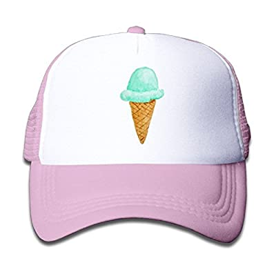 Cute Kids Ice Cream Cone Watercolor Cute Adjustable Snapback Hats Mesh Baseball Hat Unisex Cap by PMNADOU
