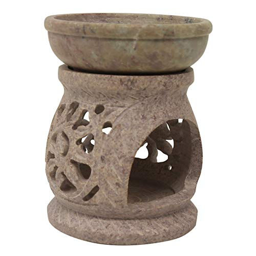 CRAFTSTRIBE Natural Shopstone Oil Burner Diffuser Lamp Candle Burner Jali