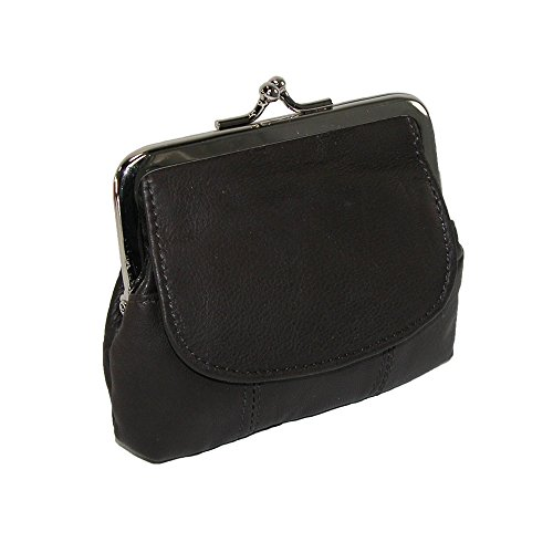 CTM Leather Double Compartment Coin Purse, Black (Snap Coin)