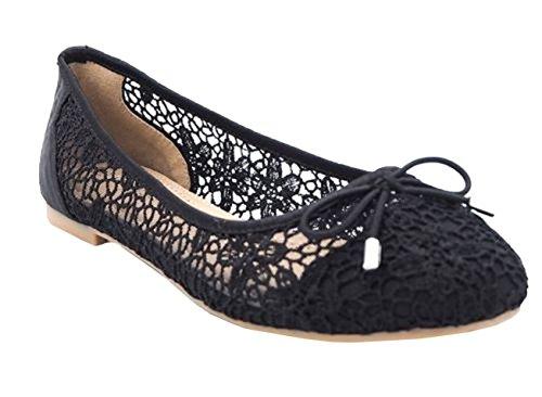 Womens Ladies Mesh Bow Slip On Ballerina Ballet Fashion Dolly Pumps Shoes - K67 Black f1eYv4v3
