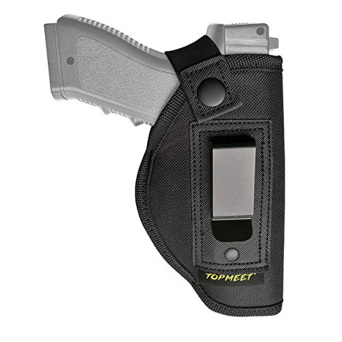 topmeet Waistband Holster/Holder for Open Concealed Carry,Universal IWB Pistol Pouch with Gun Belt Clip - Black