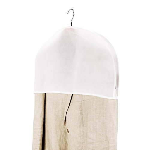 HANGERWORLD 5 White Breathable 24inch x 12inch Gusset Shoulder Dust Dirt Protector Storage Clothes Cover Bags