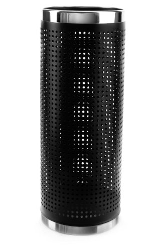 "Brelso Super Quality Umbrella Stand, Perforated Sides Umbrella Holder, Black Finished Metal, Model BBM-S04 (Stainless Steel Rim, 22.4"" Tall)"