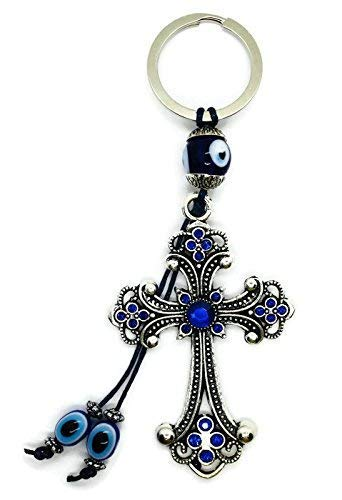 Bravo Team Lucky Cross and Evil Eye Good Luck Keychain Ring, Handbag Charm with Rhinestone Crystals for Good Luck and Blessing, Great Gift - Eye Good Luck Charm Keychain