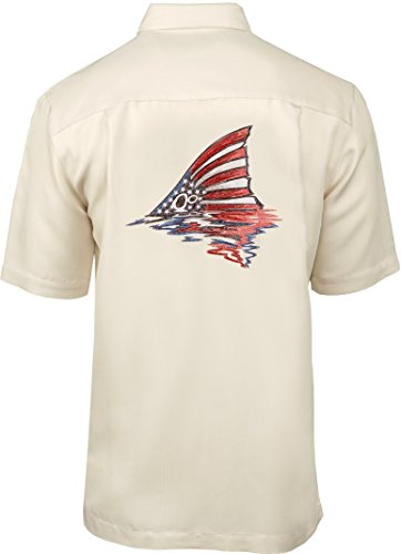 Hook & Tackle Men's American Redfish Short Sleeve Embroidered Fishing Shirt Ivory XLarge