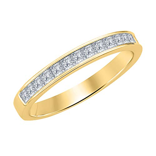 tusakha 1.10ctw Princess Cut White CZ Diamond Half Eternity Wedding Band Ring for Men's 14k Yellow Gold Plated 925 Sterling Silver