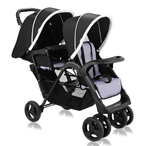 Costzon Double Stroller, Twin Tandem Baby Stroller with Adjustable Backrest, Footrest, 5 Points Safety Belts, Foldable Design for Easy Transportation (Pure Black)