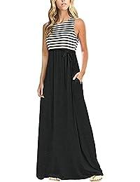 Women Casual Strip Patchwork Sleeveless O-Neck Pocket Beach Long Maxi Tank Dress