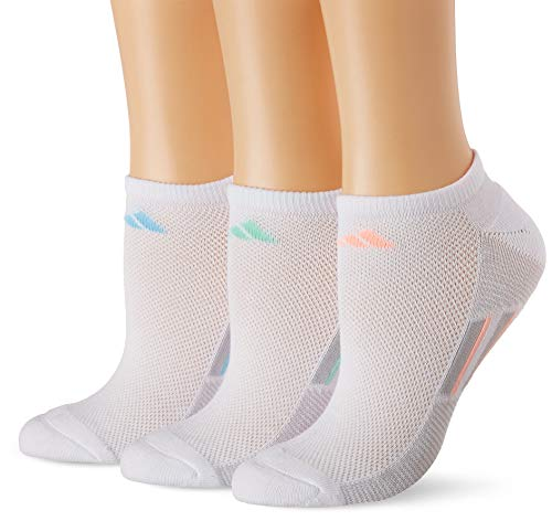 adidas Women's Climacool Superlite No Show Socks (3-Pack), White/Onix/Pastel Multi, Size 5-10