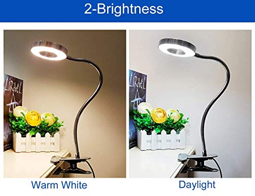 6W LED USB Dimmable Clip on Reading Light,Clip Laptop Lamp for Book,Piano,Bed Headboard,Desk,Eye-care 2 Light Color Switchable, Adapter Included(Black) by W-LITE (Image #6)