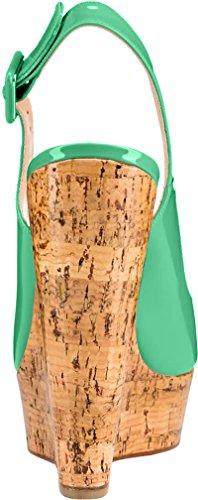 Trusify Mujer 12cm EU tamaño 34-46 Truabandon Tacón ancho 12CM Sintético Sandalias de vestir Azul Darkcyan