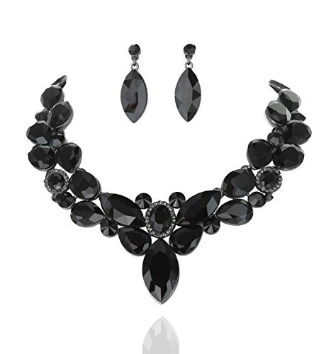 SP Sophia Collection Stunning Round Collar with Attached Cluster Pendant and Teardrop Earrings Jewelry Set for Women in Black (Bow Jewelry Set)