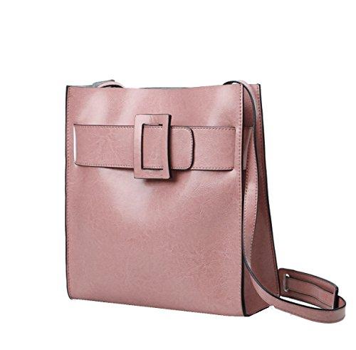 Bolsos Yy.f Gran Paquete De Cuero De Moda La Nueva Bolsa De Cuero De Cera De Petróleo La Sra Práctico 3 Color Interno Pink