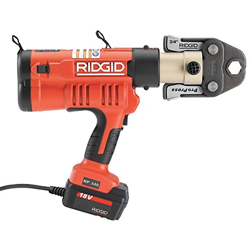 RIDGID RP 340-C Press Tool Kit - 43373 Hydraulic Crimping Tool With ProPress Tool Jaws - PureFlow, MegaPress, Standard Series Jaws and Rings Compatible (Corded)