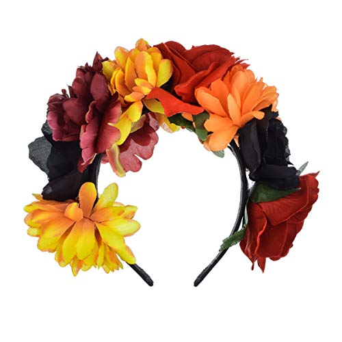 DreamLily Frida Kahlo Mexican Flower Crown Headband Halloween Party Costume Dia de Los Muertos Headpiece NC25 (A-Rose Crown)]()