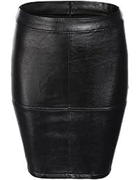 Women's Faux Leather High Waist Bodycon Mini Pencil Skirt