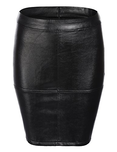 Zip A-line Skirt Back (Chigant Women's Faux Leather High Waist Sexy A-Line Mini Skirt (M, Black))