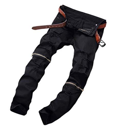 Jeans Especial Buchi Slim Da Pantaloni Dritta Casual Chiusura Gamba Fit Con Zip Uomo Strappati A Chern E In Nero Denim Estilo rzOxBrq