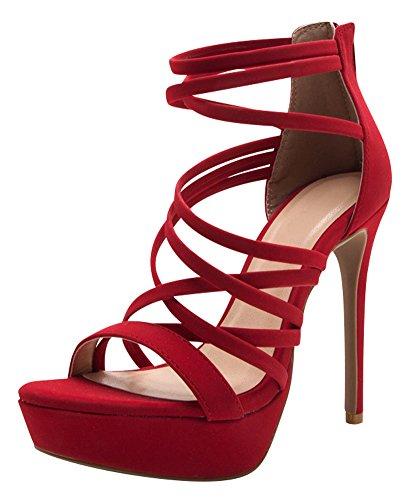 Red Strappy High Heel - Cambridge Select Women's Open Toe Crisscross Strappy Platform Stiletto High Heel Sandal (8.5 B(M) US, Red NBPU)