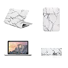 "Unik Case-4 in 1 13 Inch Marble Rubberized Hard Case,Screen Portector,Sleeve Bag & Silicone Skin for Macbook Pro 13"" with DVD Drive A1278 Shell Cover-White"