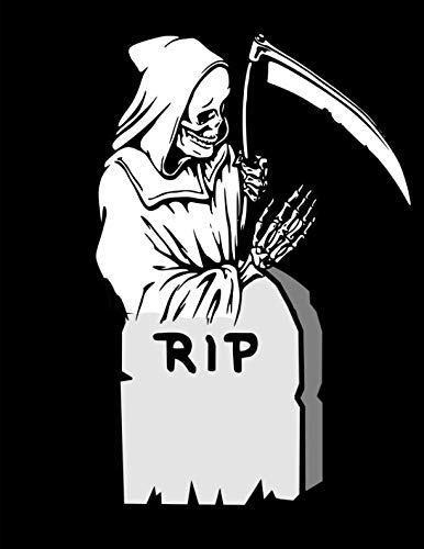 Grim Reaper Tombstone RIP Notebook Journal 120 College Ruled Pages 8.5 X 11 -