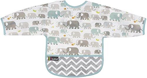 Kushies Cleanbib Waterproof Bib with Sleeves 6-12M White Elephants