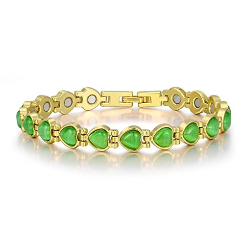 "Women Magnetic Therapy Bracelets Heart Cat's Eye Bracelet Copper Bracelet Pain Relief for Arthritis and Carpal Tunnel 18K Gold Plated 7.8"" Gifts for Mom Mother Wife Girls (Green) Reflections Solid Green"