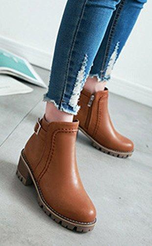 Brun Courte Eclair Fashion Chelsea Tige Fermeture Aisun Bloc UOPFnSq