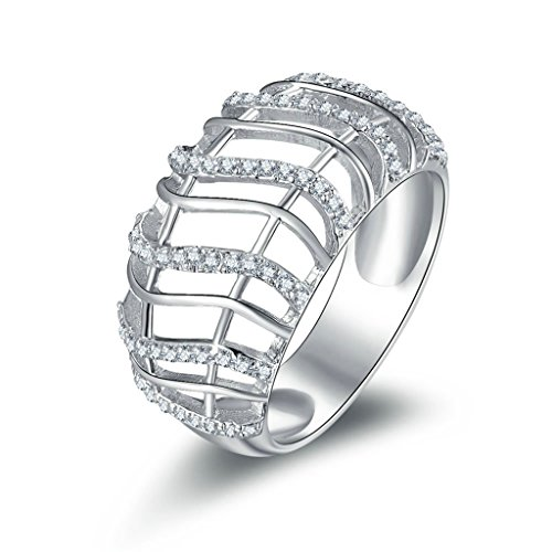 AmDxD Jewelry Silver Plated Women Promise Customizable Rings Hollow CZ Size 7.5 by AMDXD