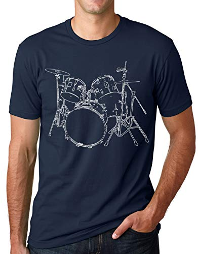 (Think Out Loud Apparel Drums T-Shirt Artistic Design Drummer Tee Navy M )