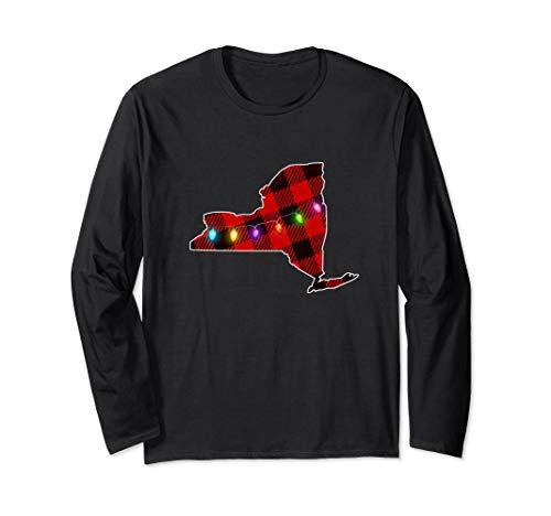 New York State Christmas Lights | Red Buffalo Plaid Winter Long Sleeve T-Shirt (Lights Christmas Syracuse)