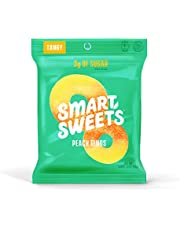 SmartSweets Peach Rings 1.8 Oz Bags (Box of 12), Candy with Low-Sugar (3g) & Low Calorie (80)- Free of Sugar Alcohols & No Artificial Sweeteners, Sweetened with Stevia