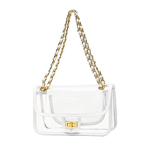 Lock Handbag - YOOXI Womens' Clear Purse Turn Lock Handbags Chain Shoulder Bags NFL Approved Bags White