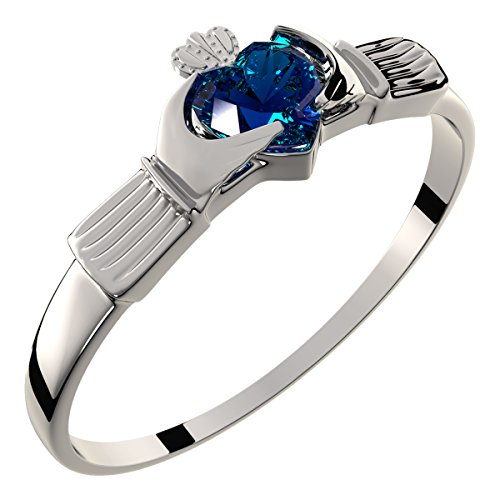 Sterling Silver Irish Claddagh Ring, Sapphire Blue CZ Heart Stone - 6