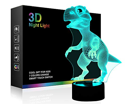 Awesome Kids Toys (Wiscky WKUSNL-ND009 3D Children Kids Night Lamp, Dinosaur Toys for Boys, 7 LED Colors Changing Lighting, Touch USB Charge Table Desk Bedroom Decoration, Cool Gifts Ideas Birthday Xmas for Baby)