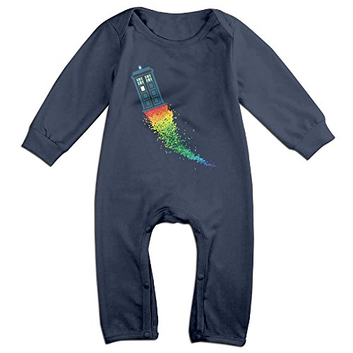 4th Of July Costumes Uk (OLGB Newborn Tardis Rainbow Long Sleeve Bodysuit 6 M)