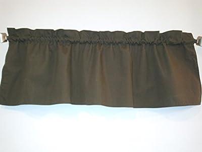 "Dark Olive Green Valance Curtain Solid Color. Ruffled on top. Window treatment. Window Decor. Kitchen, dorm, wide 56"" fits standard curtain rod. 17"" L"