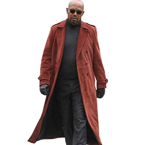 Mens John Shaft II Samuel Jackson Red Suede Leather Trench Coat