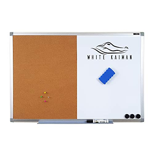White KaimanⓇ Combination Magnetic Dry Whiteboard & Cork Bulletin Board w/Aluminum Frame + 3 Magnets Marker, Pen Tray & Magnetic Felt Dry Eraser (36
