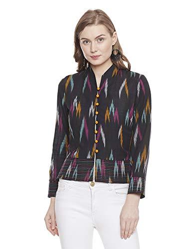 Indigo Paisley Ava Women's Yarn Dyed Cotton Lightweight Full Sleeve Jacket (M, Black)