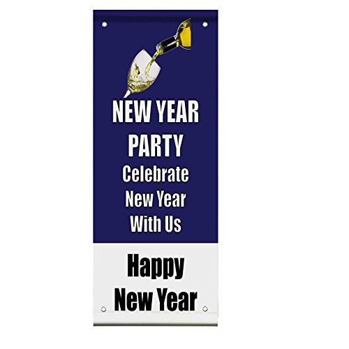 New Year Party Celebrate Happy New Year Double Sided Vertical Pole Banner Sign 36 in x 48 in w/ Pole Bracket by Fastasticdeals