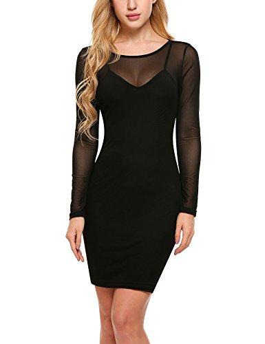 Zeagoo Women's Sexy Long Sleeve Mesh See Through Club Bodycon Dress With Slip Dress