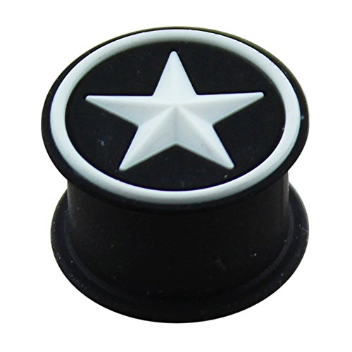 24MM Embossed White Star on Black Silicone Ear Plug Body Jewelry by Tunnel-Plug-Taper