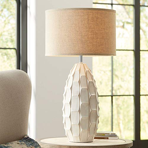 Beige Ceramic Table Lamp - Cosgrove Mid Century Modern Table Lamp Ceramic White Handcrafted Beige Fabric Drum Shade for Living Room Family Bedroom - Possini Euro Design