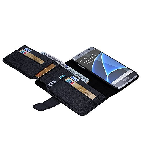 Galaxy S7 Edge Case, MCUK luxury Fashion Pu Leather Case Magnet Wallet Credit Card Holder Flip Cover Case Built-in 7 Card Slots & Stand Case for Samsung Galaxy S7 Edge (Black)