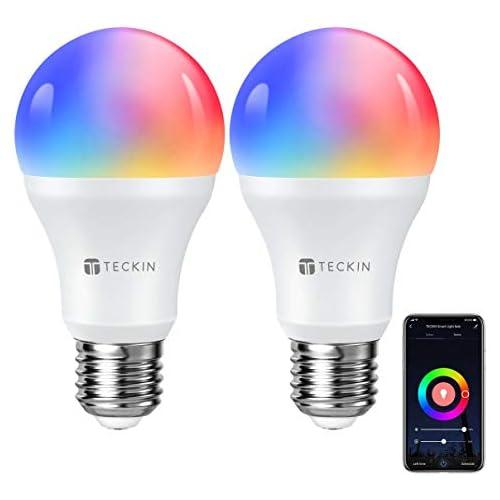 chollos oferta descuentos barato TECKIN Bombilla LED Inteligente WiFi Luces Cálidas RGB 2800k 6200k Ajustable y Lámpara E27 Multicolor Funciona con Alexa Google Home Equivale 7 5W 2 Paquete